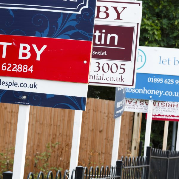 London, UK : Estate agent signs advertise property to let in UK